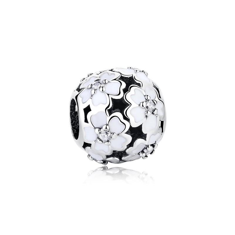 Berloque Separador Flores Brancas Zircônia Cristal - Prata Italiana