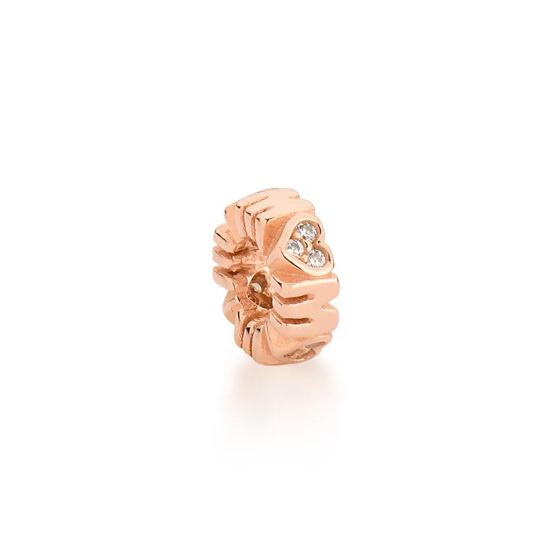 Berloque Separador Mãe Zircônia Branca - Ouro Rose