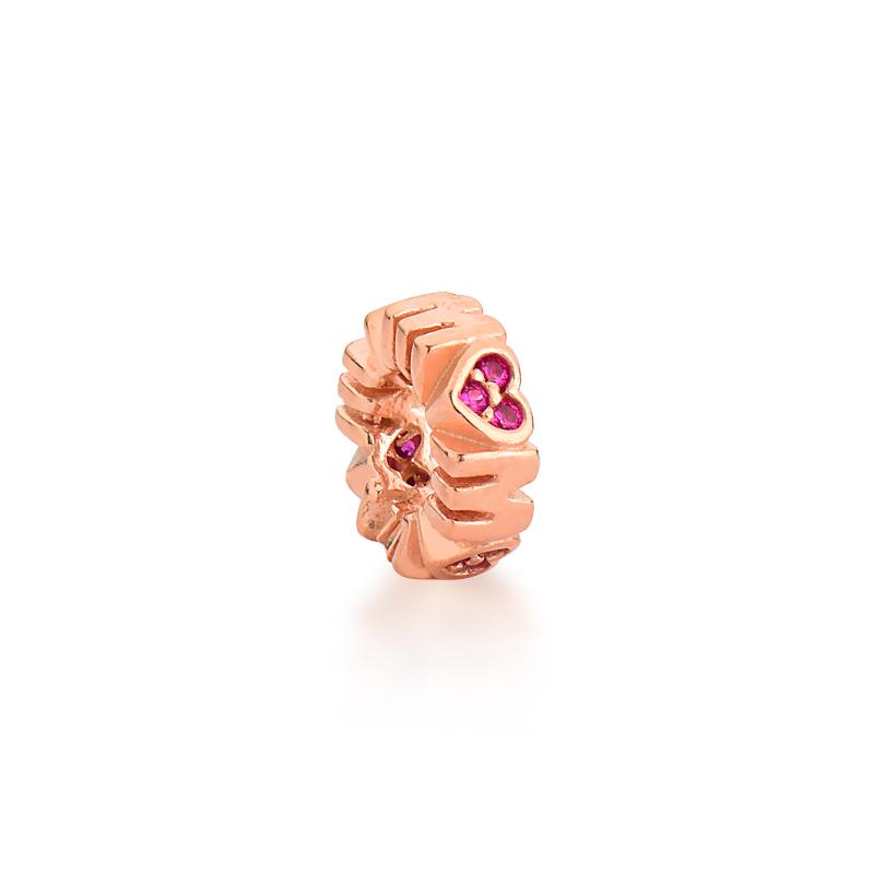 Berloque Separador Mãe Zircônia Rosa - Ouro Rose