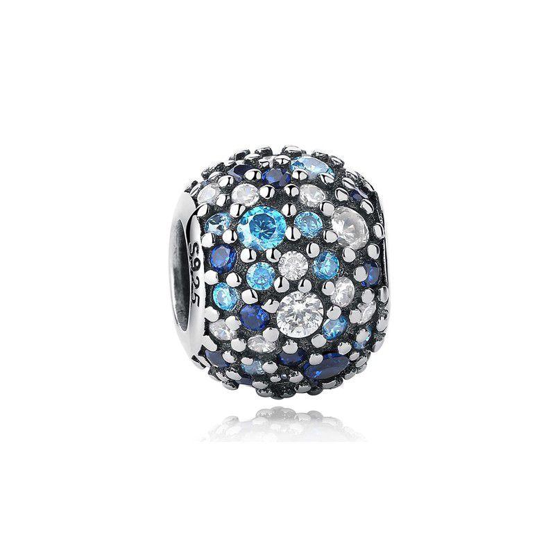 Berloque Separador Pavê Zircônia Azul e Cristal - Prata Italiana
