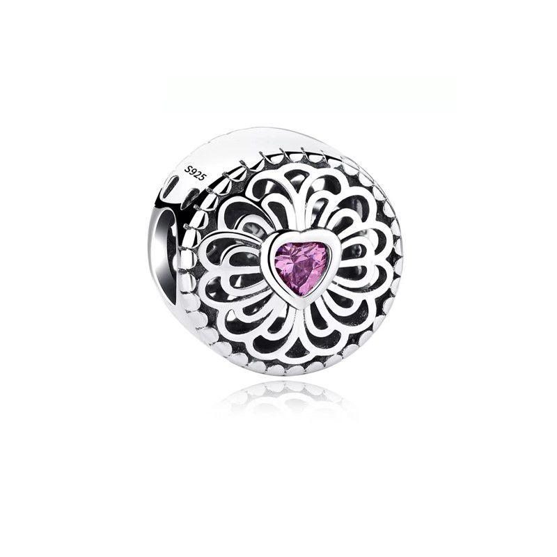 Berloque Separador Pedra Coração Rosa - Prata Italiana