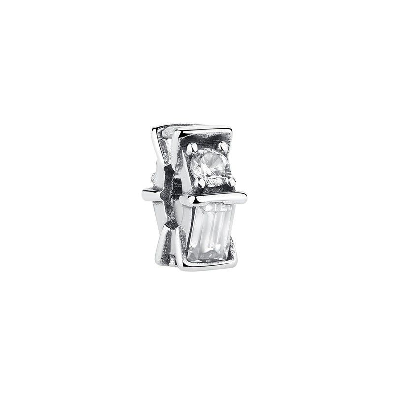 Berloque Separador Pedra Cristal - Prata Italiana
