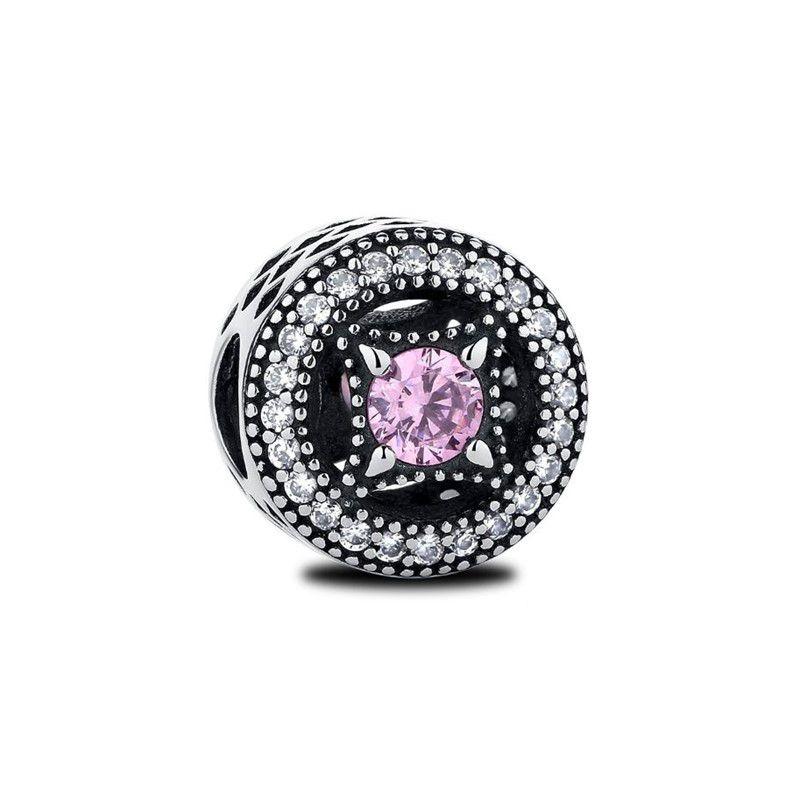 Berloque Separador Zircônia Cristal e Rosa - Prata Italiana