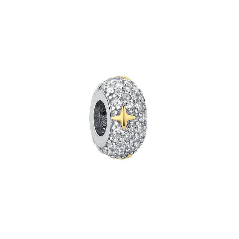 Berloque Separador Zircônia Cristal Estrela Dourada - Prata Italiana