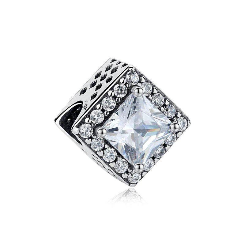 Berloque Separador Zircônia Cristal - Prata Italiana