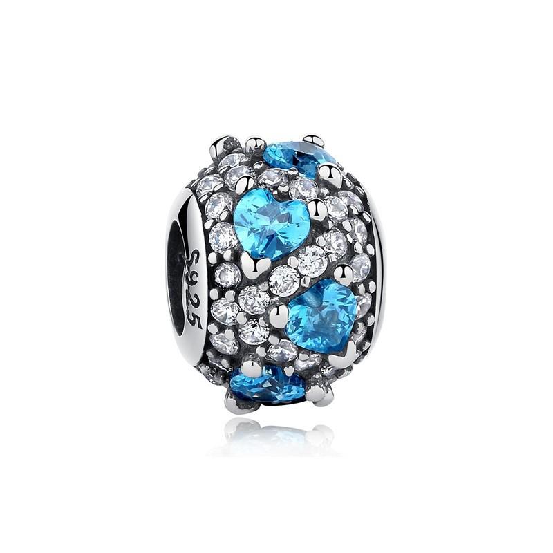 Berloque Separador Zircônias Coração Azul - Prata Italiana