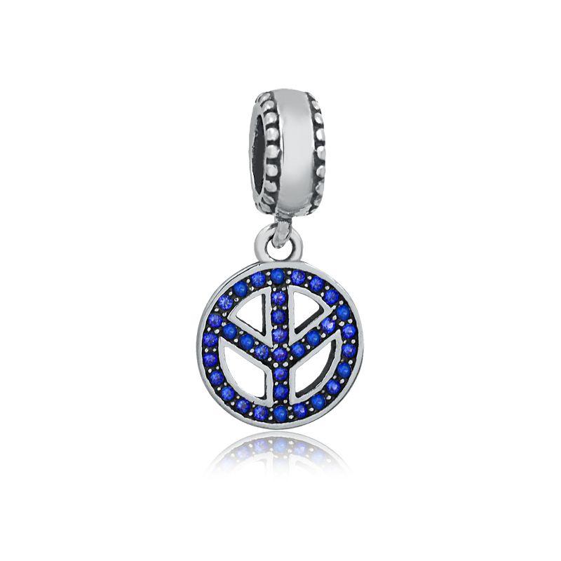Berloque Símbolo da Paz Zircônia Azul