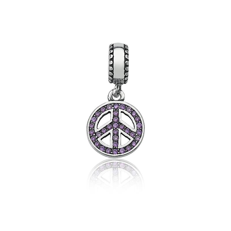 Berloque Símbolo da Paz Zircônia Lilás