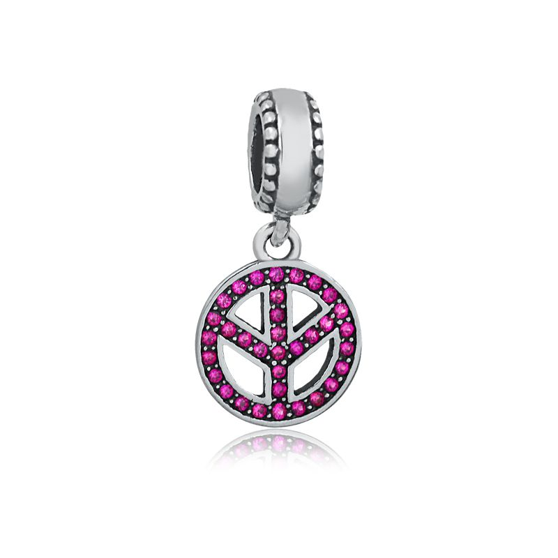 Berloque Símbolo da Paz Zircônia Rosa