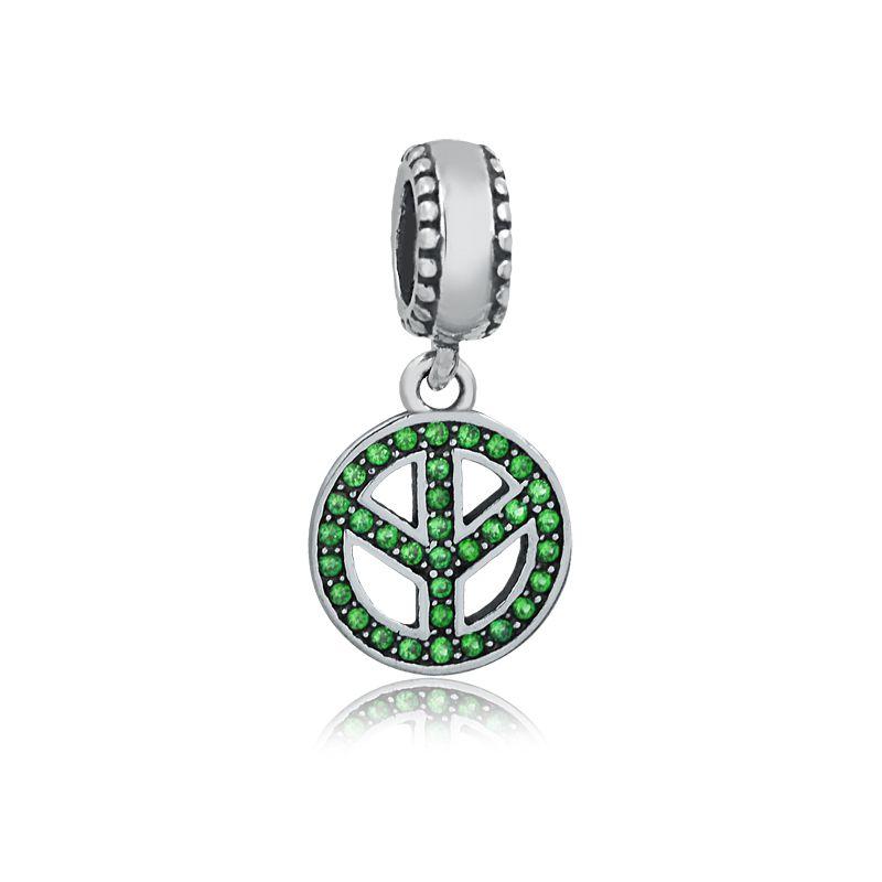 Berloque Símbolo da Paz Zircônia Verde
