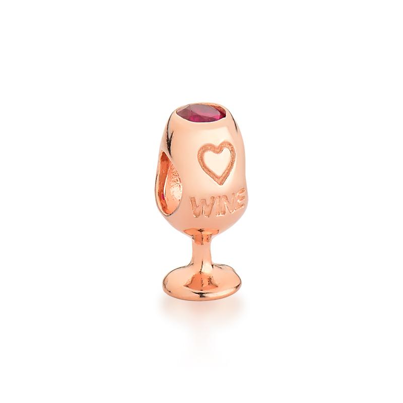 Berloque Taça de Vinho - Ouro Rose