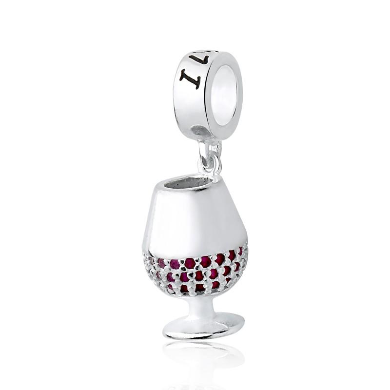 Berloque Taça de Vinho Zircônia Rosa
