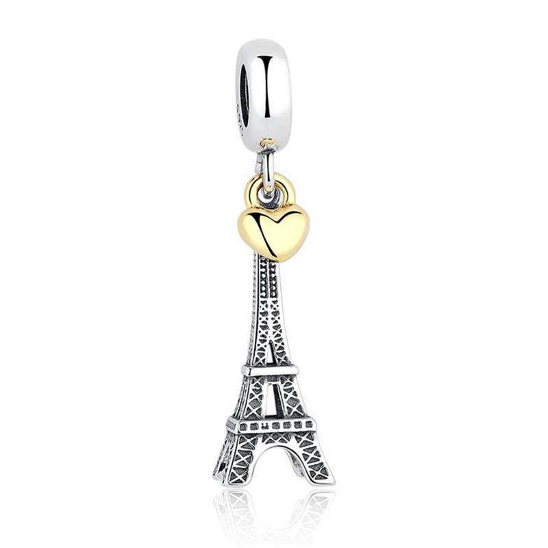 Berloque Torre Eiffel Coração Dourado - Prata Italiana