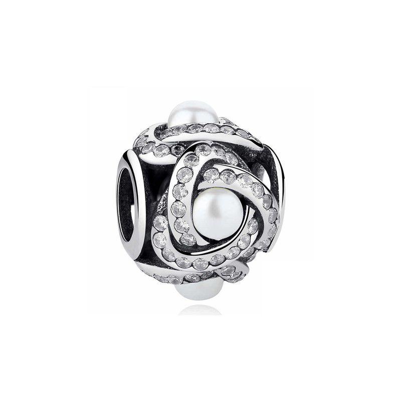 Berloque Trançado Pérola Zircônia Cristal - Prata Italiana