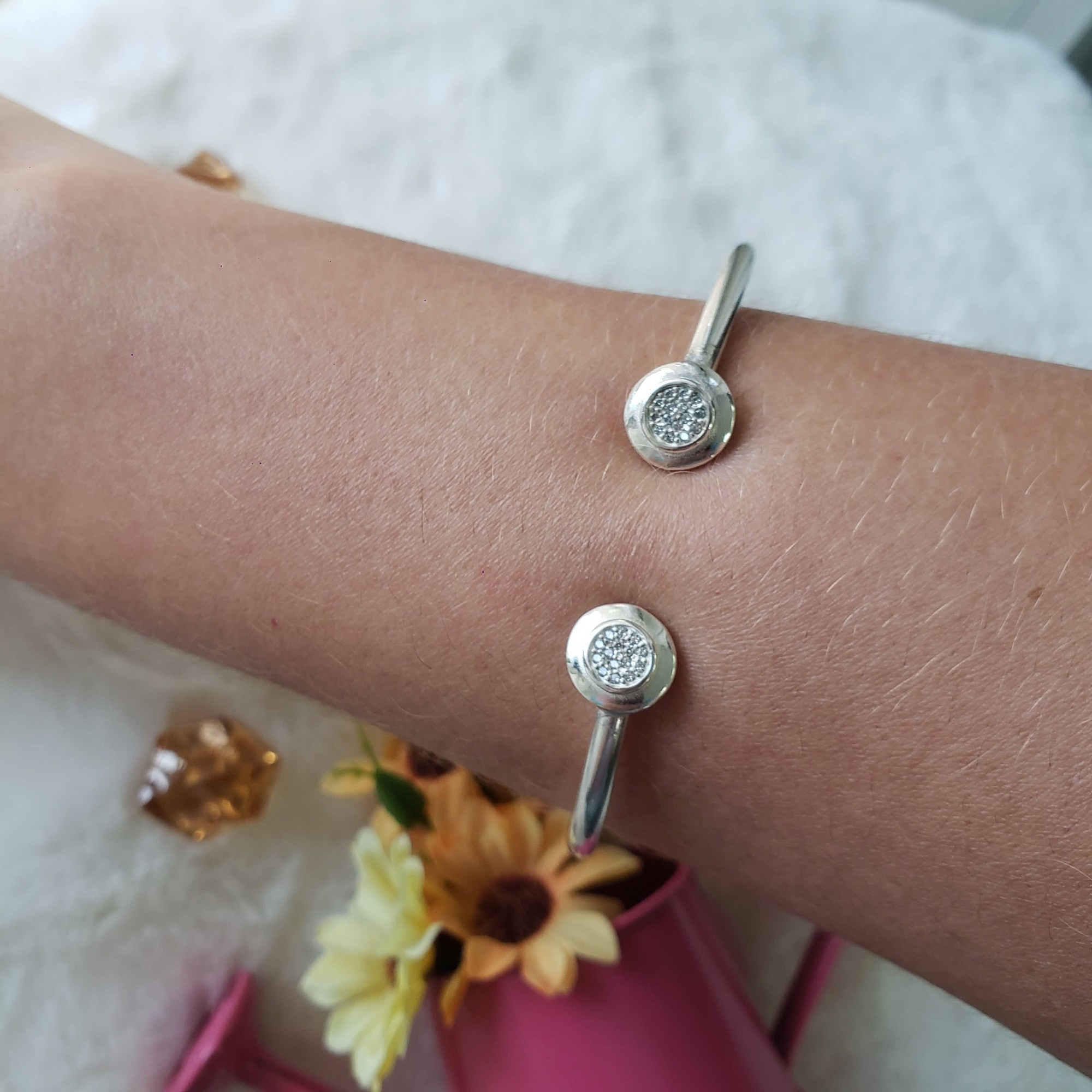 Bracelete Rígido Prata Zircônias