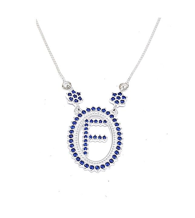 Colar de Prata Zircônias - Letra F - Azul