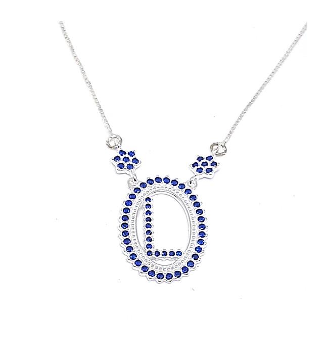 Colar de Prata Zircônias - Letra L - Azul