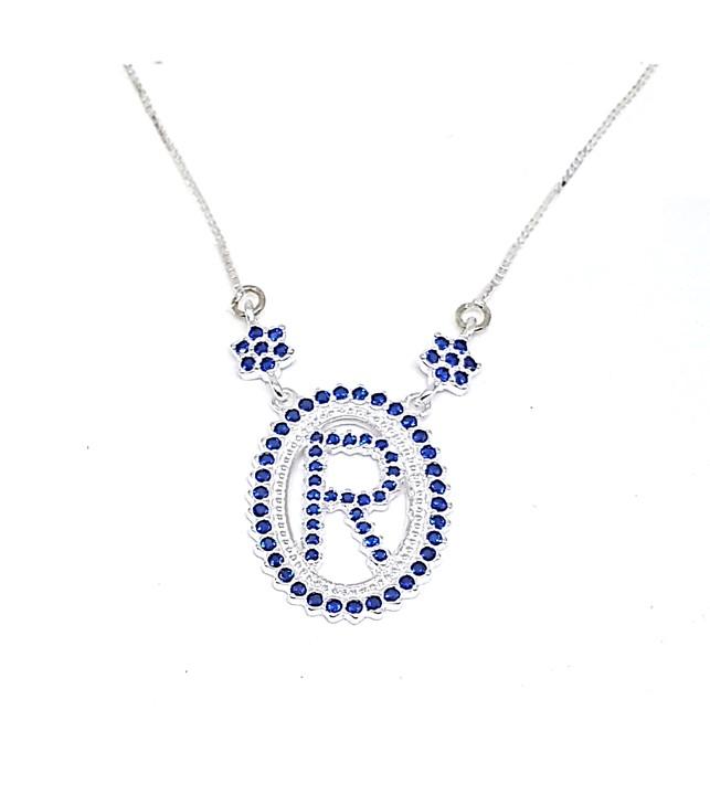 Colar de Prata Zircônias - Letra R - Azul