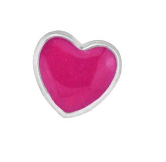 Mini Charm Petite Coração Rosa - Prata Italiana