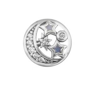 Mini Charm Petite Lua Estrelas - Prata Italiana