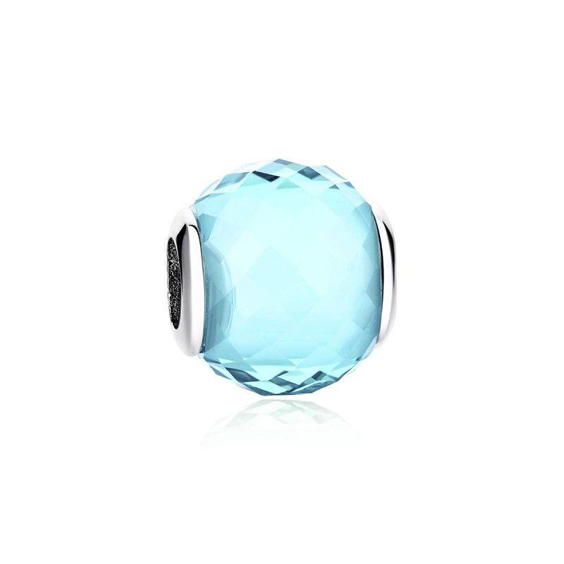 Murano Facetado Azul Claro - Prata Italiana