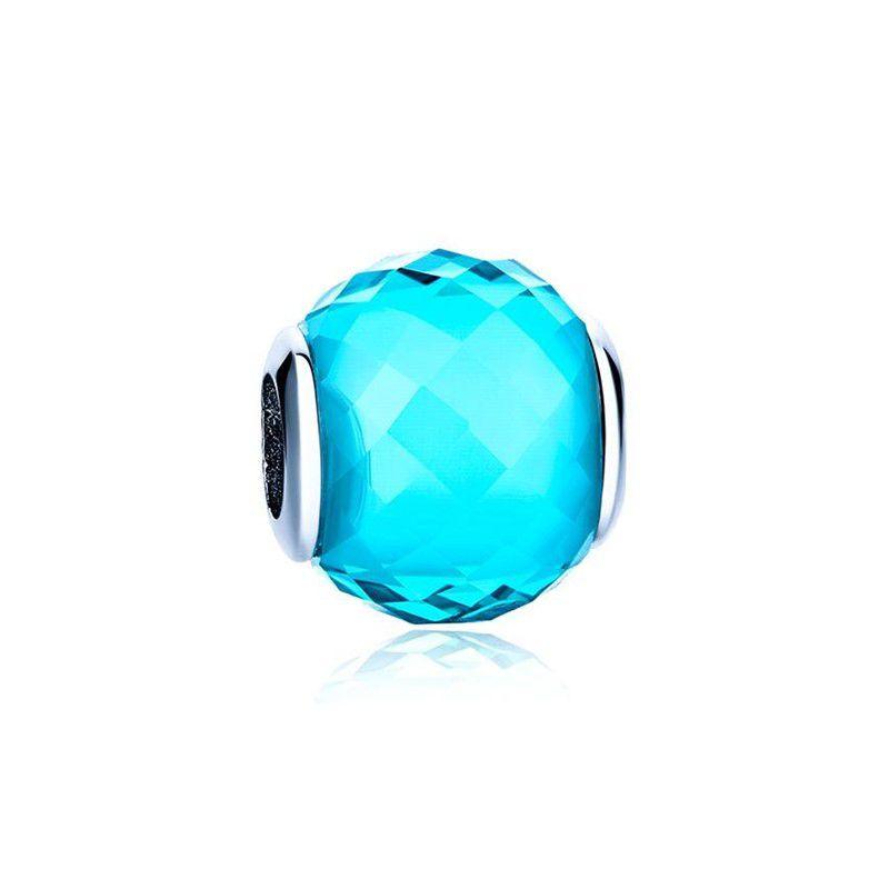Murano Facetado Azul - Prata Italiana