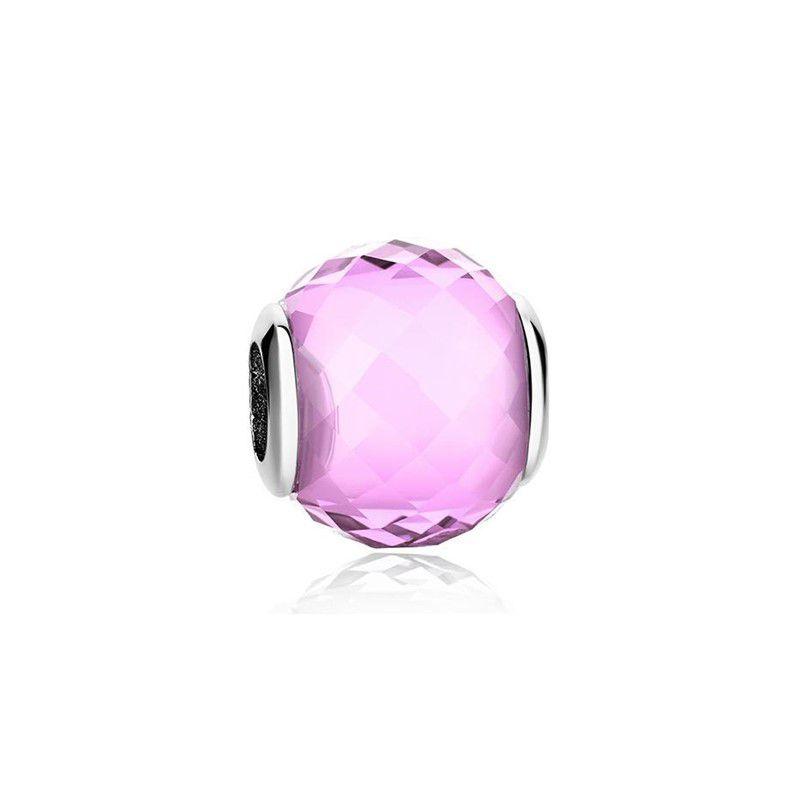 Murano Facetado Rosa - Prata Italiana