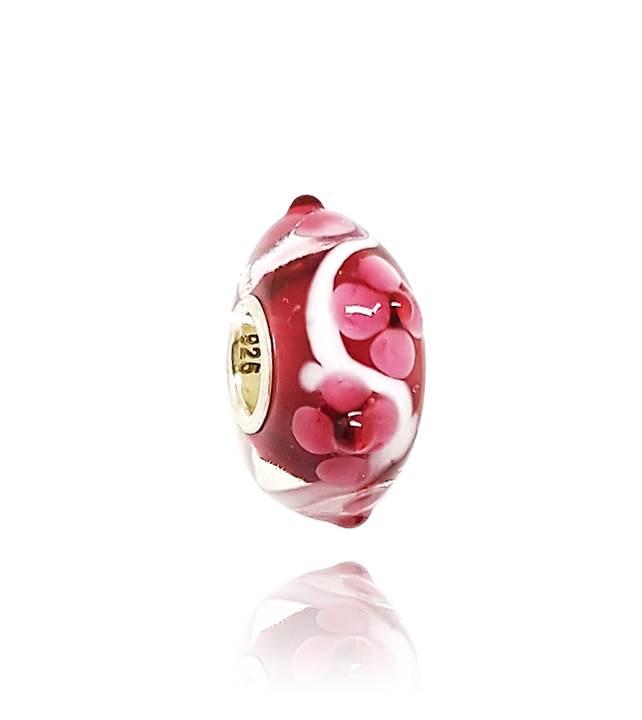 Murano Vermelho Flores - LHM0012