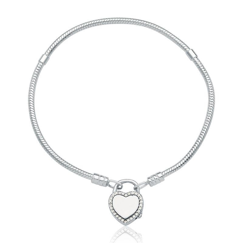 Pulseira de Berloque Prata 925 Coração Cadeado