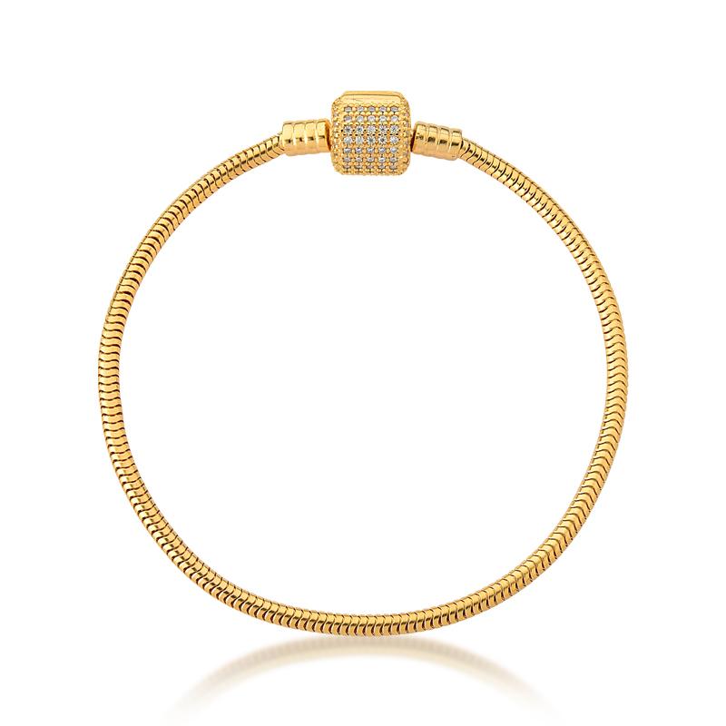 Pulseira de Berloques Prata 925 com Zircônias - Ouro Dourado