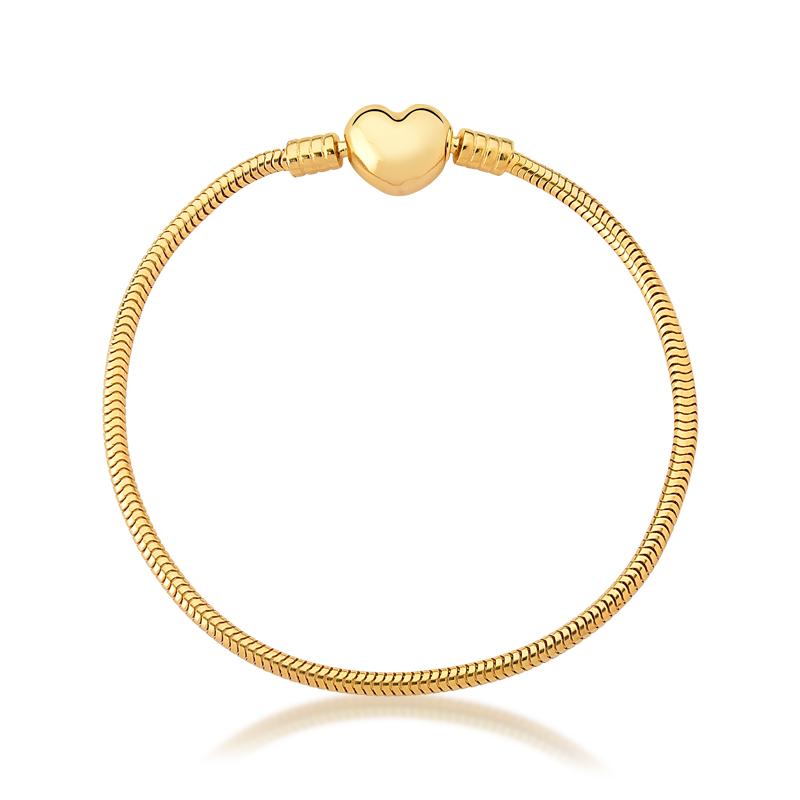 Pulseira de Berloques Prata 925 Coração - Ouro Dourado