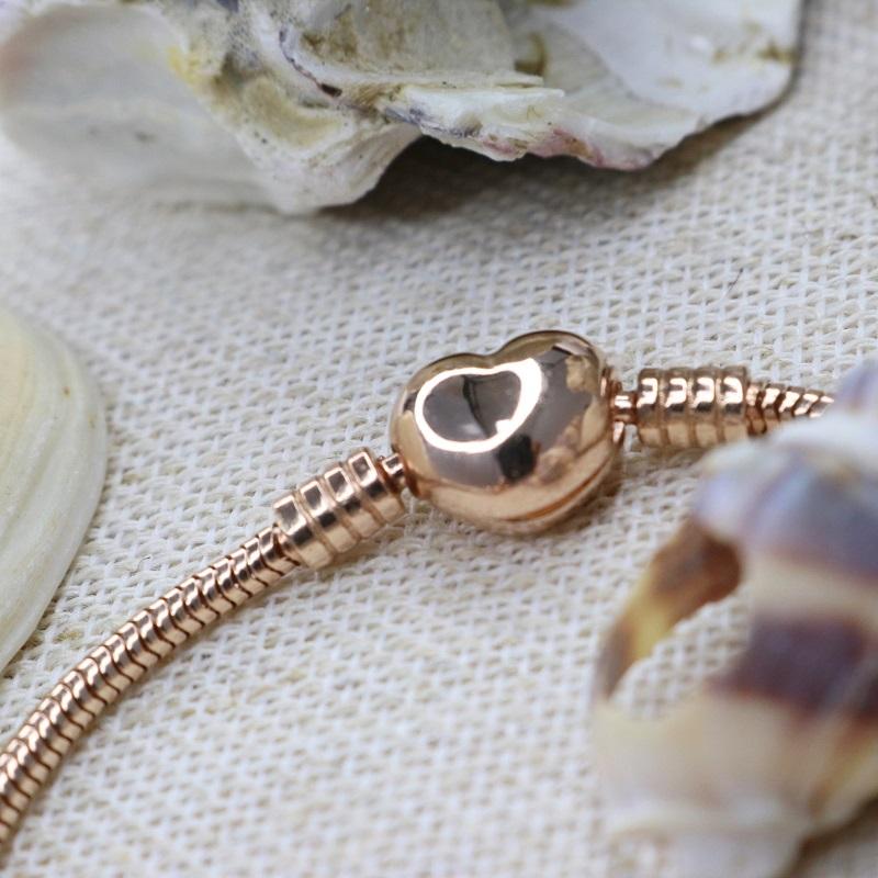 Pulseira de Berloques Prata 925 Coração - Ouro Rose
