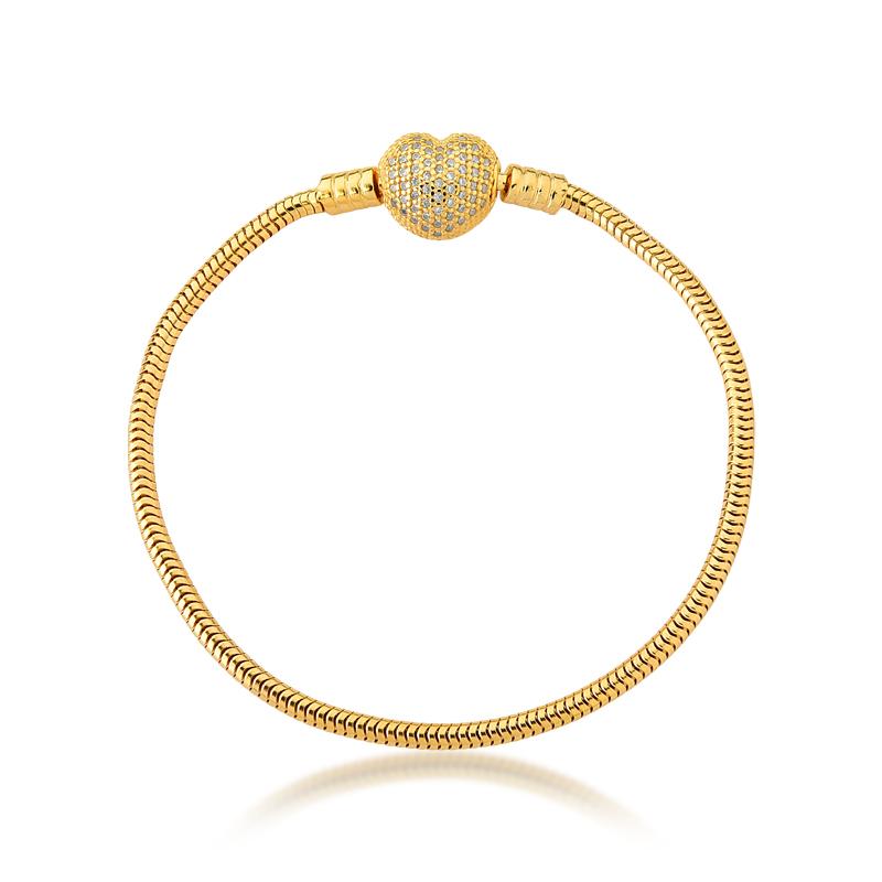 Pulseira de Berloques Prata 925 Coração Zircônias - Ouro Dourado