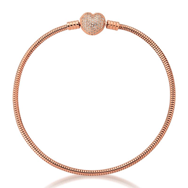 Pulseira de Berloques Prata 925 Coração Zircônias - Ouro Rose