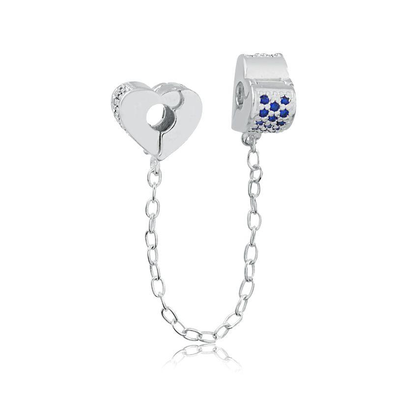 Trava de Segurança com Corrente Coração Zircônia Azul