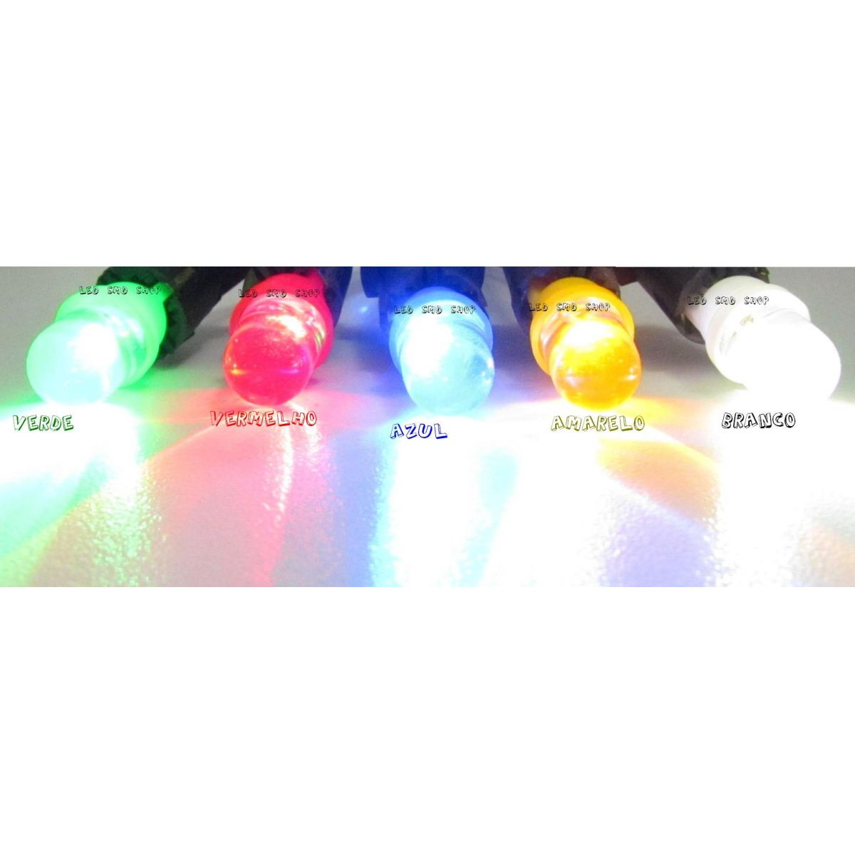 100 x Lâmpada Pingo 1 Led T10 W5w Esmagadinha 5 Cores A Escolher