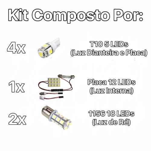 Kit Lâmpadas Led Ford Ecosport Pingo Teto Placa Ré