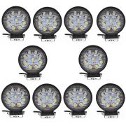 10 x Farol Auxiliar Milha Led Cree 27 watts 9 Leds 12 ou 24v Off Road Redondo