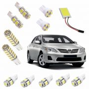 Kit Super Led Corolla 2009 até 2014 Pingo Teto Placa Ré