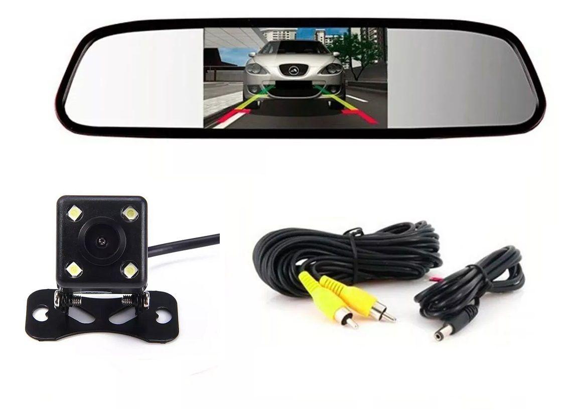 Câmera de Ré Visão Noturna Espelho Retrovisor Tela 4,3 Polegadas