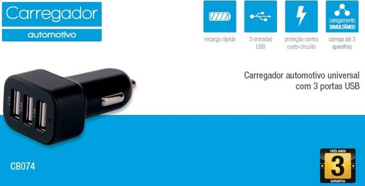 CARREGADOR AUTOMOTIVO COM 3 SAIDAS USB 3.1A MINI/MICRO/IPHONE4/5 (05)