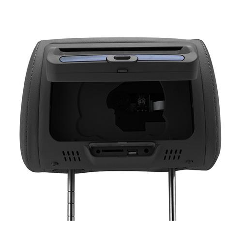 """Encosto de Cabeça com Tela 7"""" Leitor de DVD,USB, SD Card Preto"""