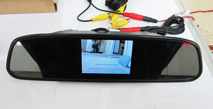Espelho Retrovisor Com Tela Lcd 4,3¨ Para Camera De Ré Dvd
