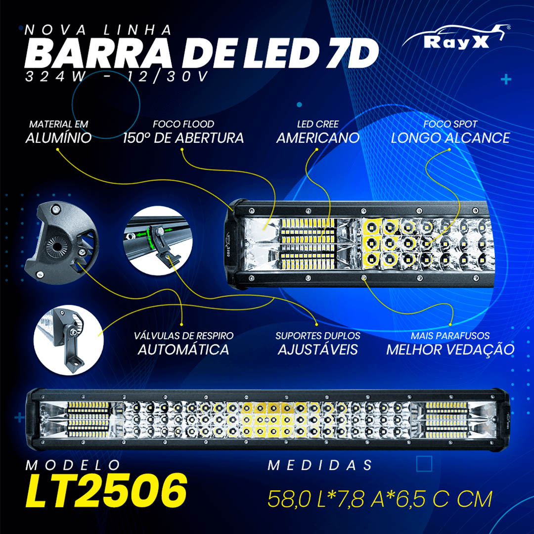 Farol Barra 108 LEDs 7D 324W Auxiliar off Road