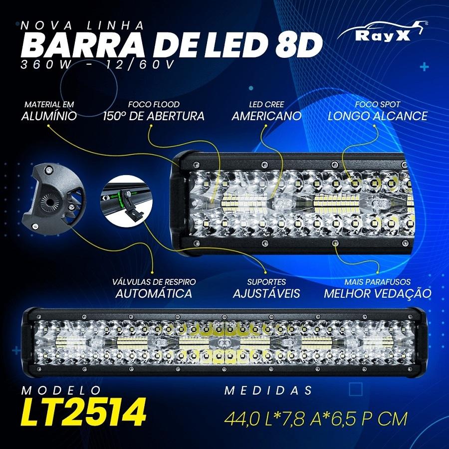 Farol Barra 120 LEDs 8D 360W Auxiliar Off Road
