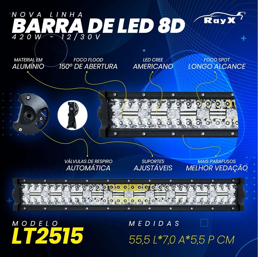 Farol Barra 140 LEDs 8D 420W Auxiliar Off Road
