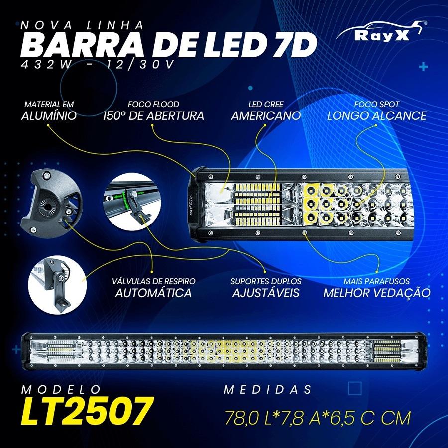 Farol Barra 144 LEDs 7D 432W Auxiliar Off Road