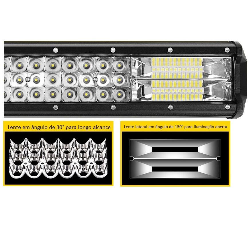 Farol Barra 168 LEDs 7D 504W Auxiliar Off Road