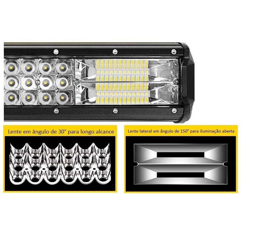 Farol Barra 72 LEDs 7D 216W Auxiliar Off Road