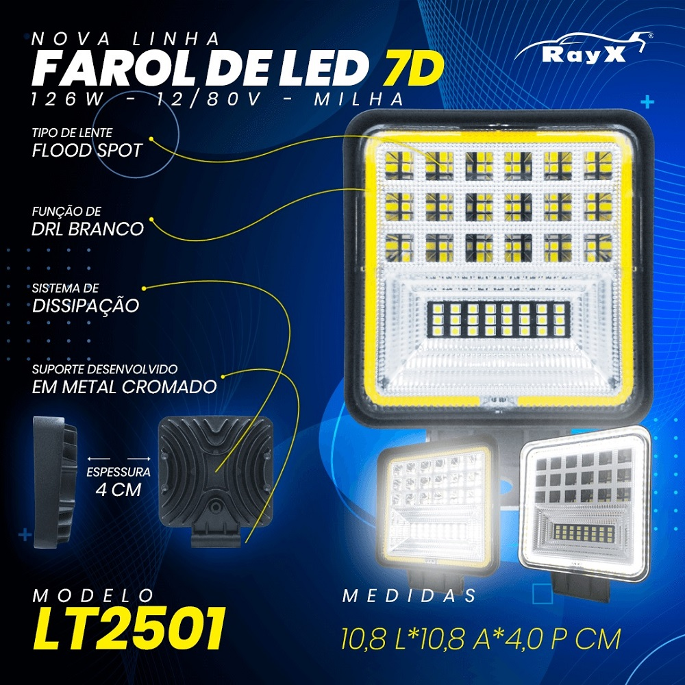 FAROL DE MILHA ANGEL EYES DRL 7D 42 LEDs 126W OFF ROAD